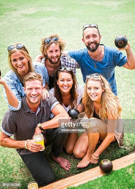 Portrait of Friends Enjoying Lawn Bowling Game