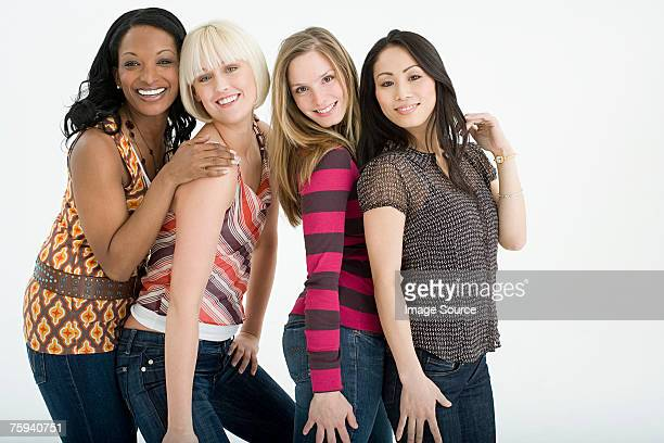 portrait of friends - female friendship stock pictures, royalty-free photos & images