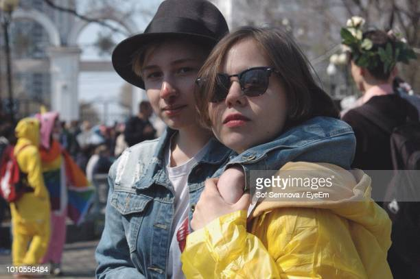 portrait of friends wearing standing outdoors - khabarovsk stock pictures, royalty-free photos & images
