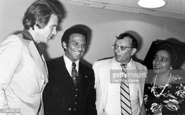 Portrait of from left American actor Warren Beatty policiatians Andrew Young and Allard K Lowenstein and Civil Rights leader and activist Coretta...