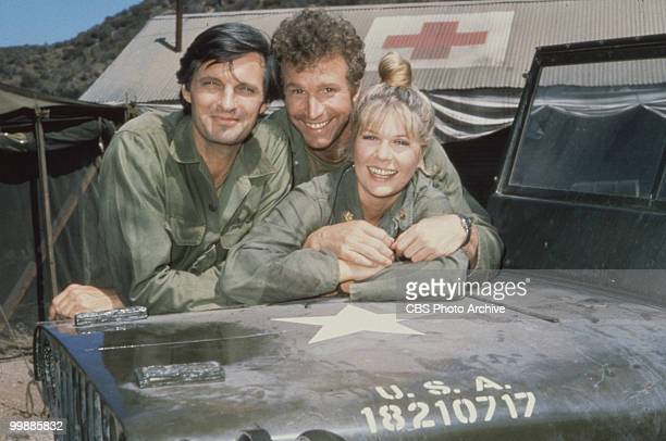 Portrait of from left American actors Alan Alda as Captain Benjamin Hawkeye Pierce Wayne Rogers as Captain Trapper John McIntyre and Loretta Swit as...