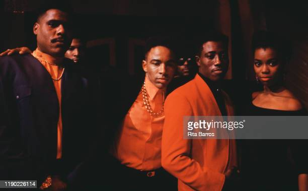 Portrait of from left American actors Bill Nunn Allen Payne Wesley Snipes and Vanessa Williams on the set of their film 'New Jack City' New York New...