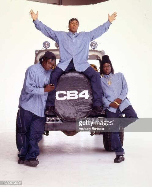 Portrait of from left American actors Deezer D Allen Payne and Chris Rock as they pose in costume for their movie 'CB4' Los Angeles California 1993