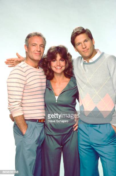 Portrait of from left American actors James Caan Sally Field and Jeff Bridges as they pose arminarm for the film 'Kiss Me Goodbye' Los Angeles...