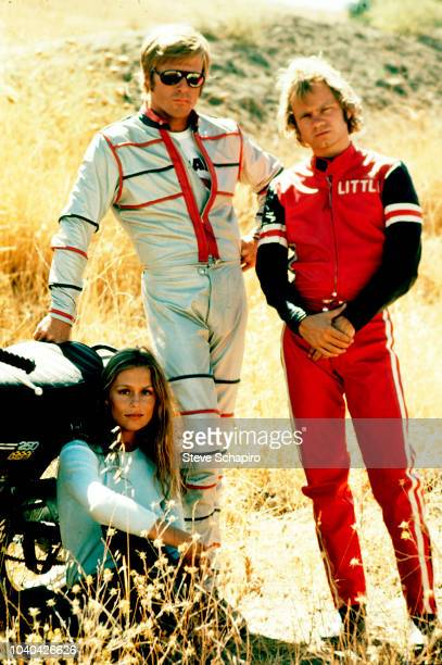 Portrait of from left American actors Lauren Hutton Robert Redford and Michael J Pollard in costume as they pose on the set of the film 'Little Fauss...