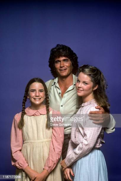 Portrait of from left American actors Melissa Gilbert and Michael Landon and Americanborn Canadian actress Melissa Sue Anderson all of the tv show...