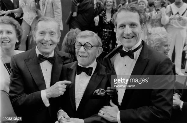 Portrait of, from left, American actress Jean Stapleton, comedians Milton Berle and George Burns, and actor Daniel Travanti as they attend 'The...
