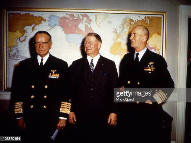 Portrait of from left American Admiral William Frederick Halsey Jr Secretary of the Navy Frank Knox and Chief of Naval Operations Admiral Ernest J...