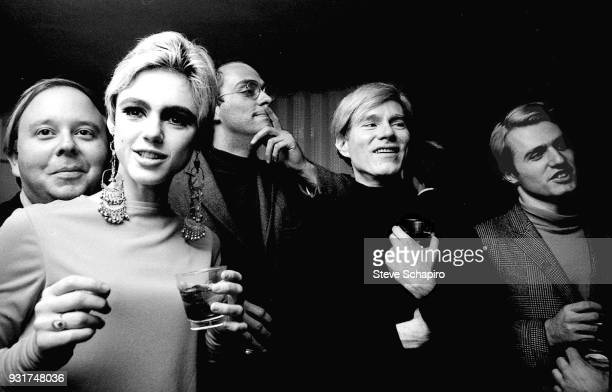 Portrait of from left American art critic and curator Henry Geldzahler fashion model actress Edie Sedgwick actor and producer FuFu Smith Pop artist...