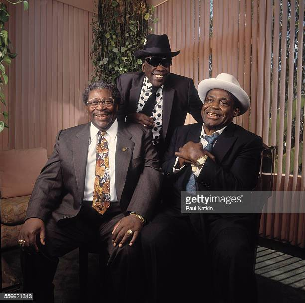 Portrait of from left American Blues musicians BB King John Lee Hooker and Willie Dixon at the Sunset Marquis Hotel for the opening of the Benson...