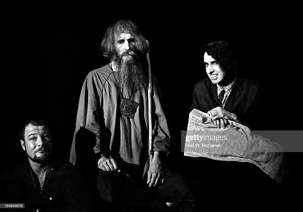 Portrait of, from left, American poet and social activist Hugh Romney (later becoming more well-known by the name Wavy Gravy), blind musician and inventor Moondog (born Louis Thomas Hardin, 1916 - 1999), and musician and archivist Tiny Tim (born Herbert Khaury, 1932 - 1996), as they pose together at the Fat Black Pussycat (13 Minetta Street), New York, New York, July 2, 1963. Romney was the MC for a Greenwich Village Review which featured performances by the other two.
