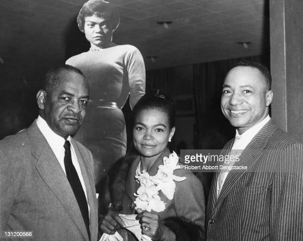 Portrait of from left American politician Representative William L Dawson singer and actress Eartha Kitt and newspaper publisher John H Sengstacke...