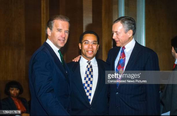 Portrait of, from left, American politicians, US Senator and Chairman of the Senate Judiciary Committee Joseph Biden, lawyer Deval Patrick, and...