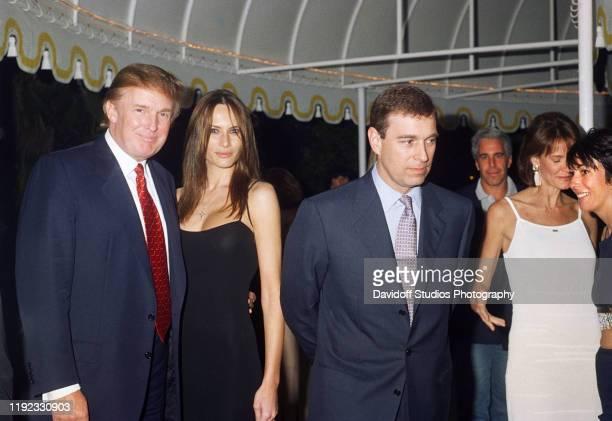 Portrait of, from left, American real estate developer Donald Trump, his girlfriend , former model Melania Knauss, Prince Andrew, Duke of York,...
