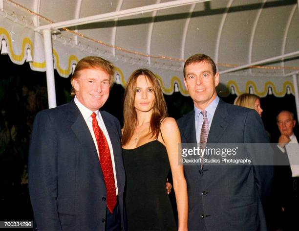 Portrait of from left American real estate developer Donald Trump his girlfriend former model Melania Knauss and British Prince Andrew Duke of York...