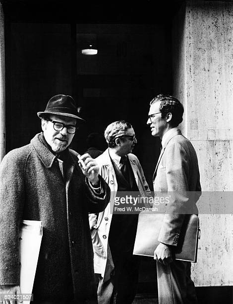 Portrait of from left cofounders of the Village Voice newspaper Ed Fancher and Dan Wolf with journalist Bartle Bull New York New York March 1 1970