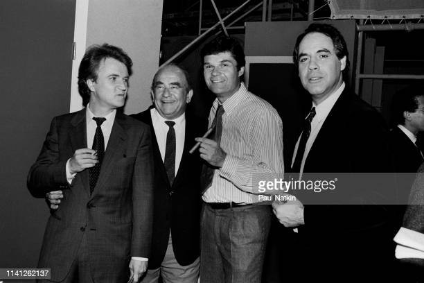 Portrait of from left Dave Thomas Ed Asner Fred Willard and Robert Klein as they pose together backstage during the Second City 25th Anniversary...