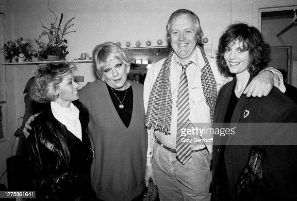 Portrait of, from left, English singer & actress Elaine Paige, American Pop musician Ellie Greenwich , English lyricist Tim Rice, and American...