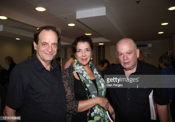 Portrait of from left former Israeli Minister of Justice Dan Meridor musician Elena Bashkirova lawyer and festival director Yehezkell Beinisch as...