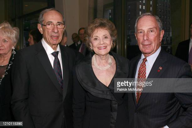 Portrait of from left former New York City Mayor Mario Cuomo Matilda Cuomo and thencurrent New York City Mayor Michael Bloomberg as they attend...