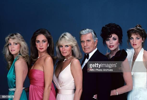 Portrait of, from left: Heather Locklear , Pamela Bellwood , Linda Evans , John Forsythe , Joan Collins , and Pamela Sue Martin , from the television...