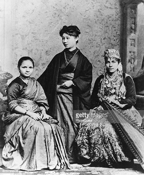 Portrait of from left Indian Dr Anandi Gopal Joshi Japanese Dr Kei Okani and Syrian Dr Sabat Islambooly each in native dress Philadelphia...