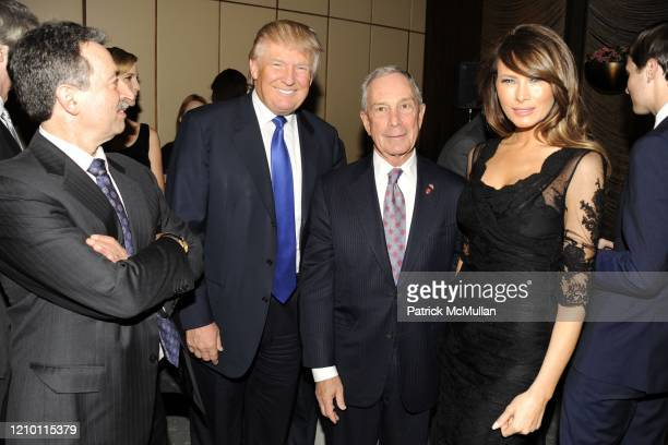 Portrait of from left Jonathan Mechanic Donald Trump New York City Mayor Michael Bloomberg and Melania Trump as they attend the New York Observer's...