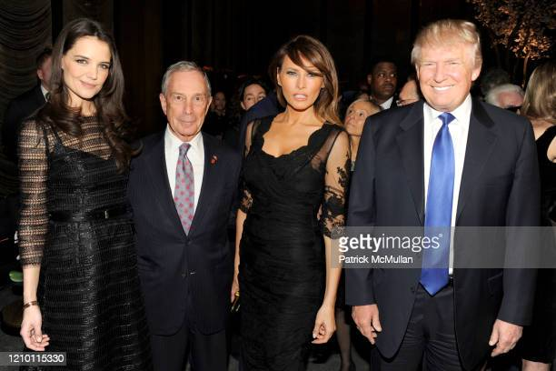Portrait of from left Katie Holmes New York City Mayor Michael Bloomberg Melania Trump and Donald Trump as they attend the New York Observer's 25th...