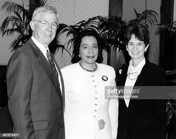 Portrait of from left Maryland Governor Paris Glendenning Civil Rights activist Coretta Scott King and attorney Kathleen Kennedy Townsend Maryland...