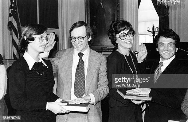 Portrait of from left Mayor Koch's political appointees Carol Bellamy Philip R Trimble Bess Meryerson and Herb Rickman as they pose during a swearing...