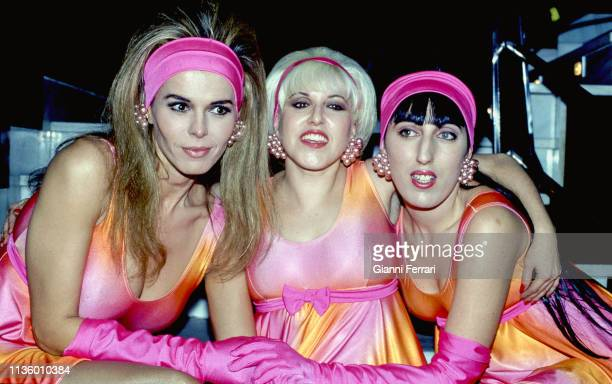 Portrait of from left Moroccanborn actress Bibi Andersen and Spanish actresses Loles Leon and Rossy de Palma Madrid Spain 1992