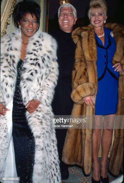 Portrait of from left Natalie Cole Dennis Basso and Ivana Trump as they attend at a Dennis Basso fashion show at the Plaza Hotel New York New York...