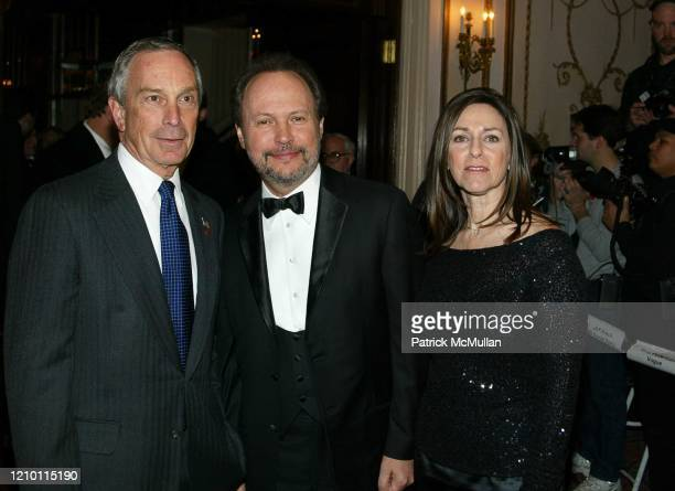 Portrait of, from left, New York City Mayor Michael Bloomberg, actor Billy Crystal, and Janice Crystal as they attend the Museum of the Moving...