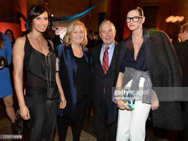 Portrait of from left Padma Lakshmi Hilary Rosen New York City Mayor Michael Bloomberg and Jenna Lyons as they attend Bloomberg Businessweek's 85th...