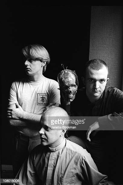 Portrait of from left Scottish musician Alex Fergusson and British musicians Genesis POrridge and Peter Christopherson all from the group Psychic TV...