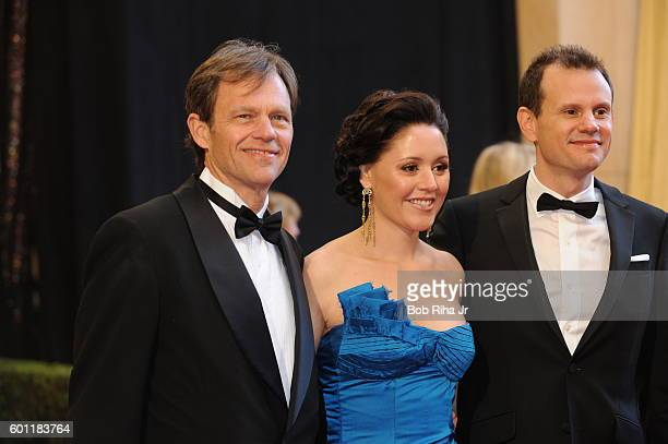 Portrait of, from left, songwriters Tom Douglas, Hillary Lindsey, and Troy Verges, as they pose together at the Kodak Theater during the 83rd Academy...