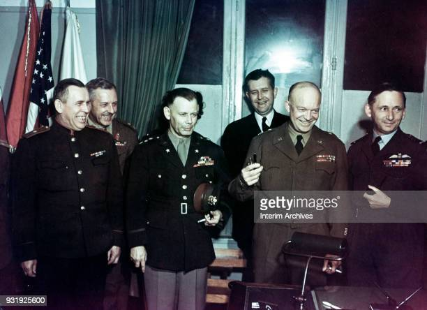 Portrait of from left Soviet General Ivan Susloparov British General Frederick E Morgan US Army Lieutenant General Walter Bedell Smith US Navy...