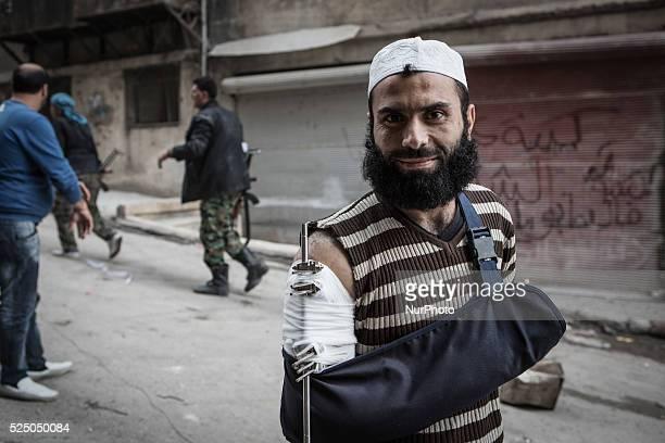 Portrait of FSA injured fighter in Aleppo Syria