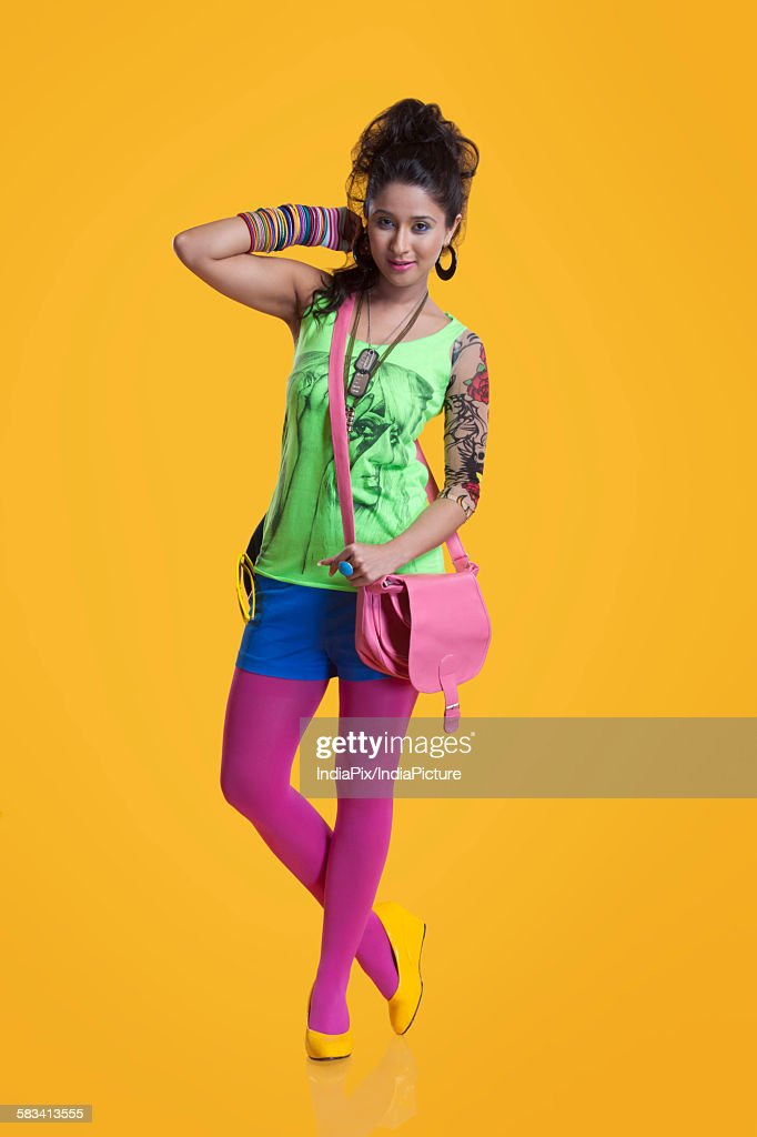 Portrait of funky young woman : Stock Photo