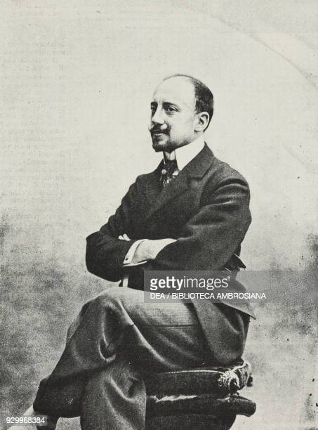 Portrait of Gabriele D'Annunzio Italian poet writer and playwright photograph by Guigoni and Bossi from L'Illustrazione Italiana Year XXV No 4...
