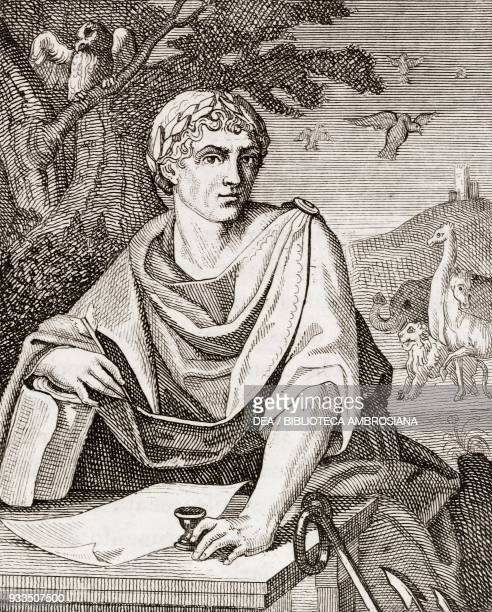 Portrait of Gaius Plinius Secundus known as Pliny the Elder Roman writer admiral and naturalist engraving from L'album giornale letterario e di belle...