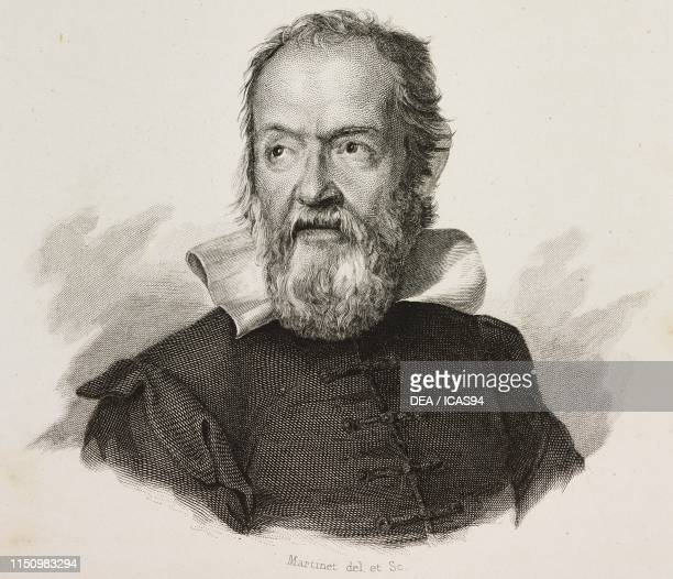Portrait of Galileo Galilei Italian astronomer and philosopher engraving and drawing by Martinet from I benefattori dell'umanita ossia vite e...