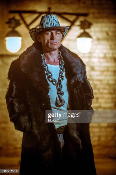 Portrait Of Gang Man In Fur Coat