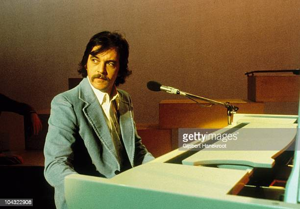A portrait of Gary Brooker of Procol Harum appearing on a TV show in 1976 in Hilversum Netherlands