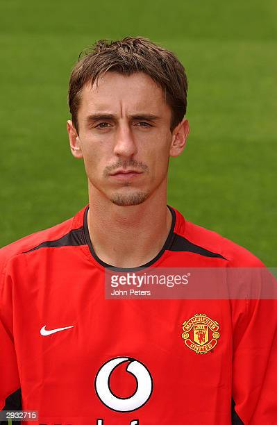 A portrait of Gary Neville during the Manchester United official photocall at Old Trafford on August 11 2003 in Manchester England