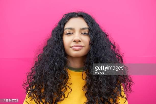 portrait of gen z woman - colour block stock pictures, royalty-free photos & images