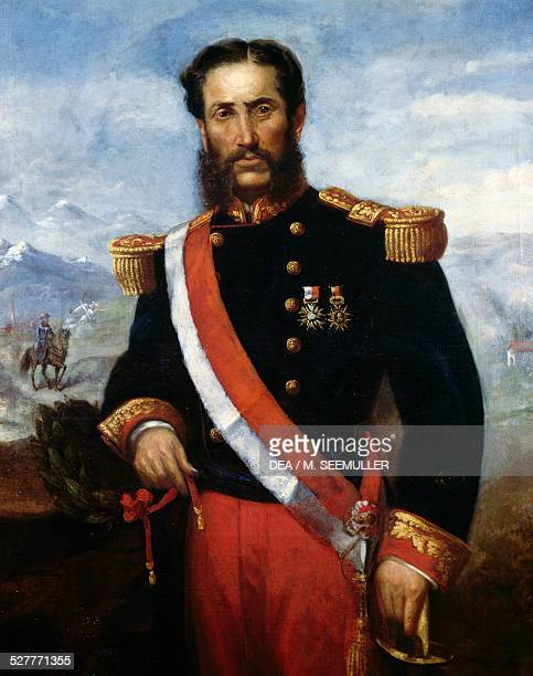 Portrait of General Andres Avelino Caceres Dorregaray commander of the Peruvian forces against Chile in the War of the Pacific 18781884 painted in...