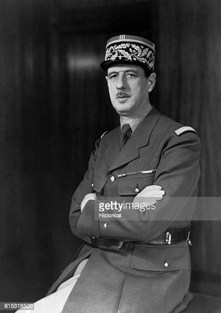 A portrait of General Charles De Gaulle leader of the Free French forces in World War Two and the eventual President of the Republic of France |...