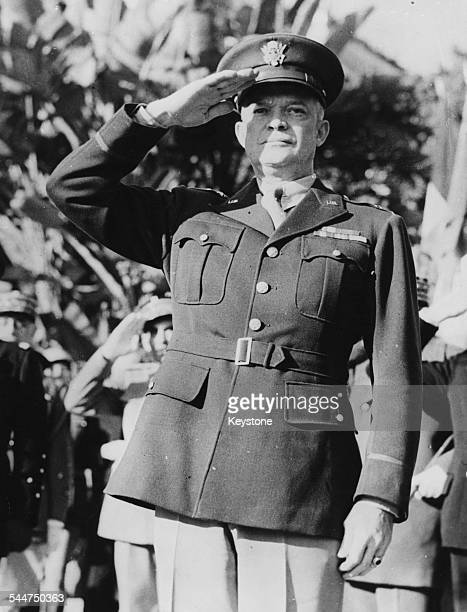 Portrait of General Dwight Eisenhower saluting in uniform 1944
