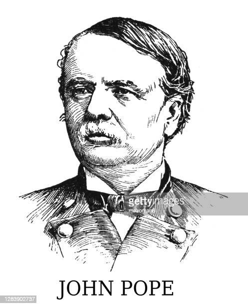 portrait of general john pope, united states army officer - governor stock pictures, royalty-free photos & images